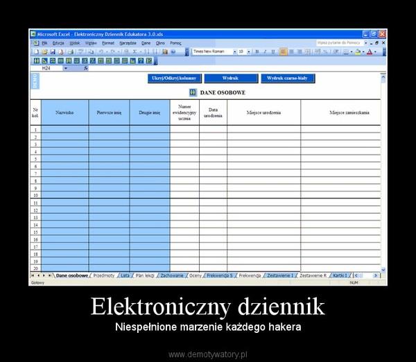 Elektroniczny dziennik – Niespełnione marzenie każdego hakera