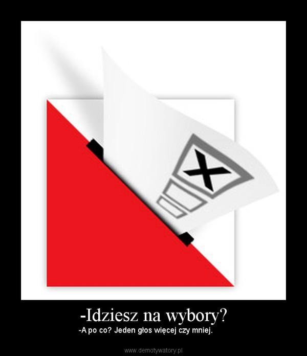 -Idziesz na wybory? – -A po co? Jeden głos więcej czy mniej.