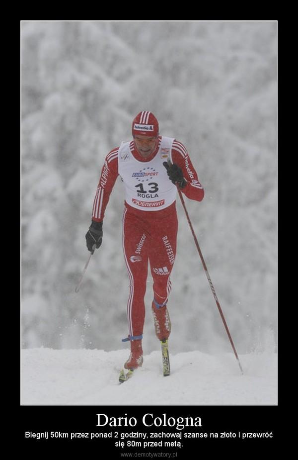 Dario Cologna – Biegnij 50km przez ponad 2 godziny, zachowaj szanse na złoto i przewróćsię 80m przed metą.