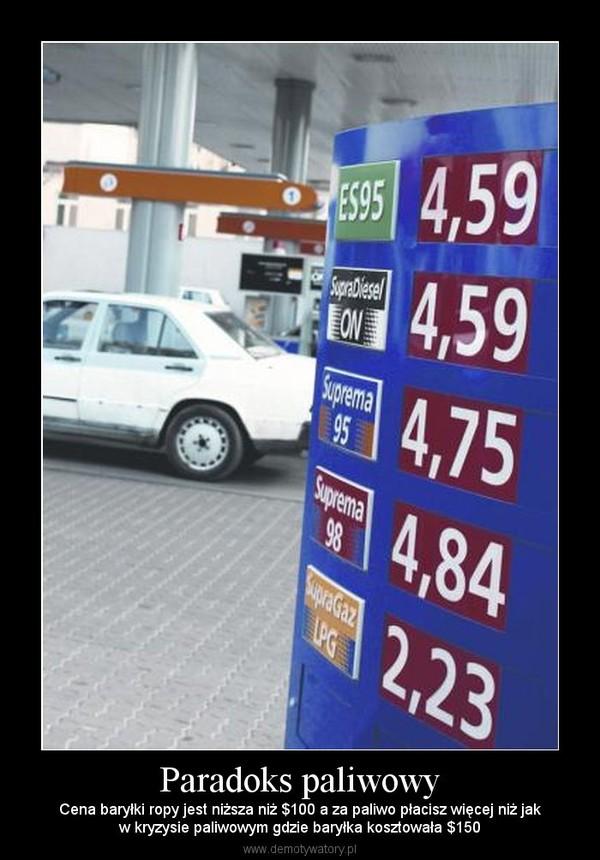 Paradoks paliwowy – Cena baryłki ropy jest niższa niż $100 a za paliwo płacisz więcej niż jakw kryzysie paliwowym gdzie baryłka kosztowała $150