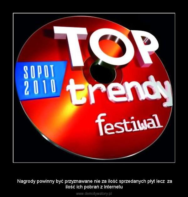 Koncert Top –  Nagrody powinny być przyznawane nie za ilość sprzedanych płyt lecz  zailość ich pobrań z Internetu