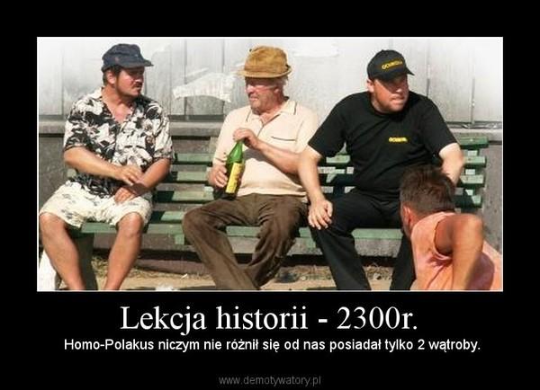 Lekcja historii - 2300r. –  Homo-Polakus niczym nie różnił się od nas posiadał tylko 2 wątroby.