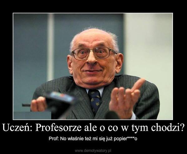 Uczeń: Profesorze ale o co w tym chodzi? – Prof: No właśnie też mi się już popier****o