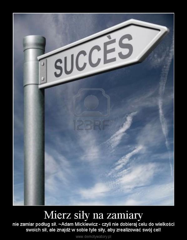 Mierz siły na zamiary – nie zamiar podług sił. ~Adam Mickiewicz - czyli nie dobieraj celu do wielkościswoich sił, ale znajdź w sobie tyle siły, aby zrealizować swój cel!