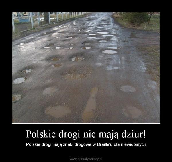 Polskie drogi nie mają dziur! – Polskie drogi mają znaki drogowe w Braille'u dla niewidomych