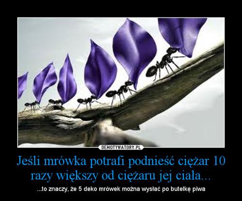 Jeśli mrówka potrafi podnieść ciężar 10 razy większy od ciężaru jej ciała...