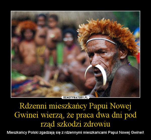 Rdzenni mieszkańcy Papui Nowej Gwinei wierzą, że praca dwa dni pod rząd szkodzi zdrowiu – Mieszkańcy Polski zgadzają się z rdzennymi mieszkańcami Papui Nowej Gwinei!