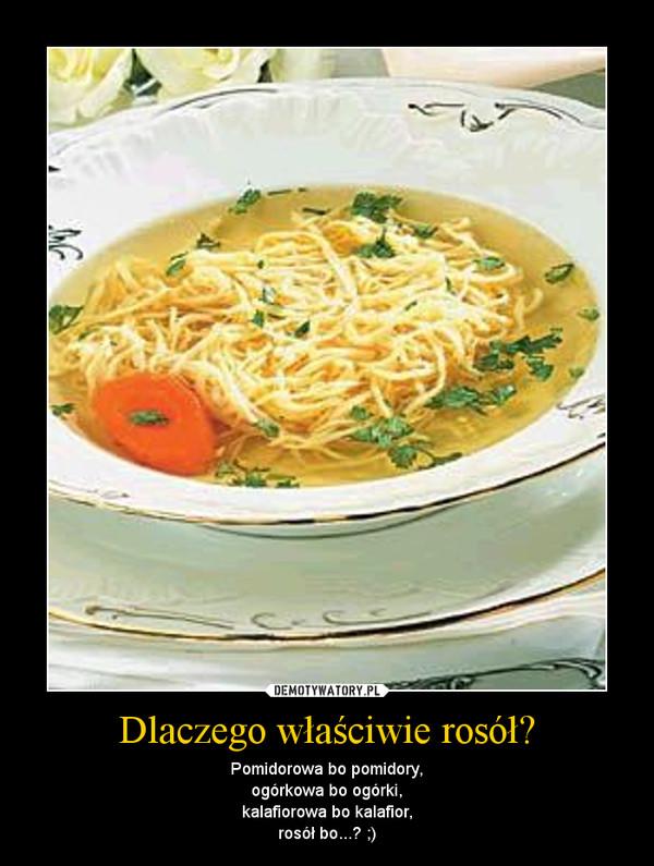 Dlaczego właściwie rosół? – Pomidorowa bo pomidory,ogórkowa bo ogórki,kalafiorowa bo kalafior,rosół bo...? ;)