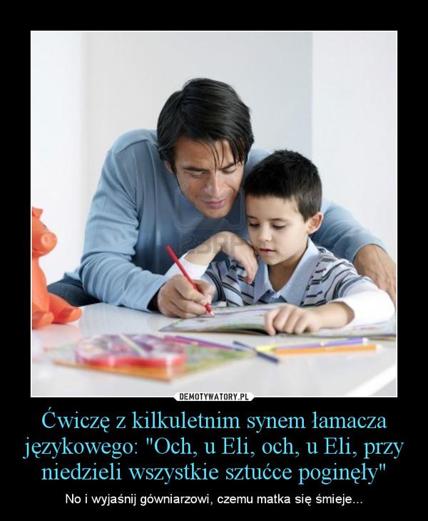 """Ćwiczę z kilkuletnim synem łamacza językowego: """"Och, u Eli, och, u Eli, przy niedzieli wszystkie sztućce poginęły"""" – No i wyjaśnij gówniarzowi, czemu matka się śmieje..."""