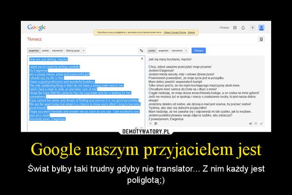 Google naszym przyjacielem jest – Świat byłby taki trudny gdyby nie translator... Z nim każdy jest poliglotą;)