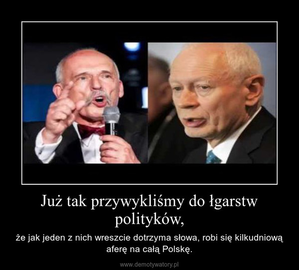 Już tak przywykliśmy do łgarstw polityków, – że jak jeden z nich wreszcie dotrzyma słowa, robi się kilkudniową aferę na całą Polskę.