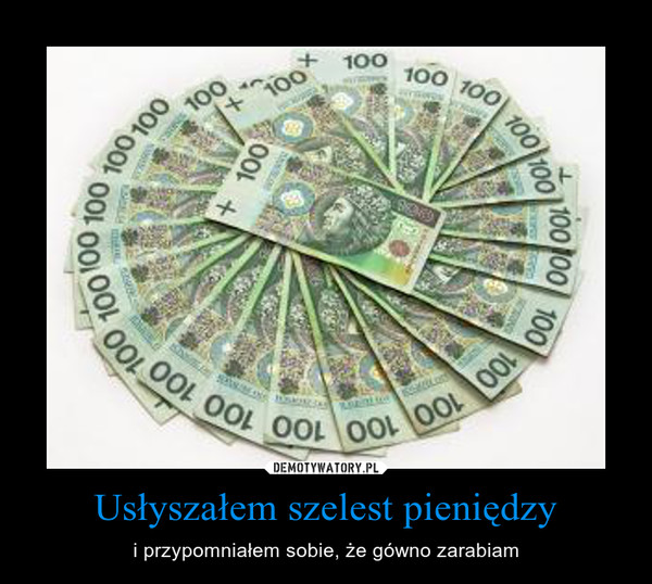 Usłyszałem szelest pieniędzy – i przypomniałem sobie, że gówno zarabiam