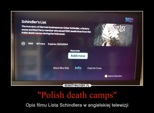 """""""Polish death camps"""" – Opis filmu Lista Schindlera w angielskiej telewizji"""