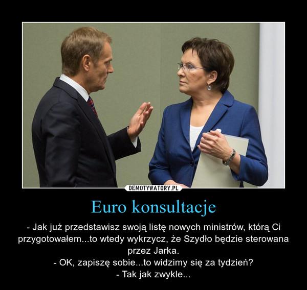 Euro konsultacje – - Jak już przedstawisz swoją listę nowych ministrów, którą Ci przygotowałem...to wtedy wykrzycz, że Szydło będzie sterowana przez Jarka.- OK, zapiszę sobie...to widzimy się za tydzień?- Tak jak zwykle...