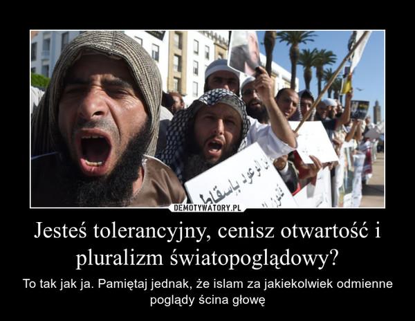Jesteś tolerancyjny, cenisz otwartość i pluralizm światopoglądowy? – To tak jak ja. Pamiętaj jednak, że islam za jakiekolwiek odmienne poglądy ścina głowę