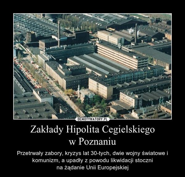Zakłady Hipolita Cegielskiegow Poznaniu – Przetrwały zabory, kryzys lat 30-tych, dwie wojny światowe i komunizm, a upadły z powodu likwidacji stocznina żądanie Unii Europejskiej