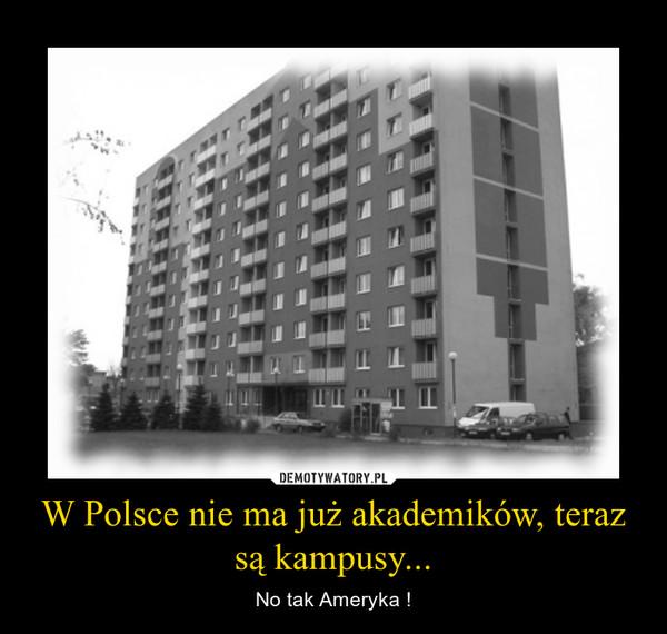 W Polsce nie ma już akademików, teraz są kampusy... – No tak Ameryka !