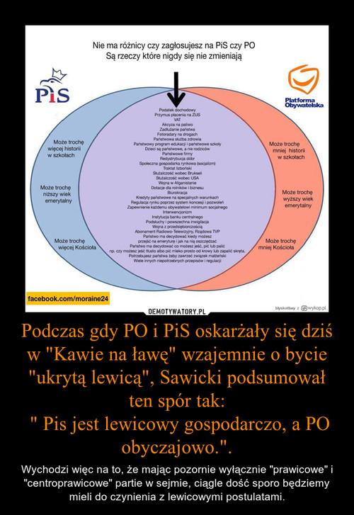 """Podczas gdy PO i PiS oskarżały się dziś w """"Kawie na ławę"""" wzajemnie o bycie """"ukrytą lewicą"""", Sawicki podsumował ten spór tak:  """" Pis jest lewicowy gospodarczo, a PO obyczajowo.""""."""