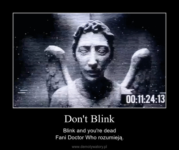 Don't Blink – Blink and you're deadFani Doctor Who rozumieją.