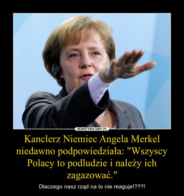 """Kanclerz Niemiec Angela Merkel niedawno podpowiedziała: """"Wszyscy Polacy to podludzie i należy ich zagazować."""" – Dlaczego nasz rząd na to nie reaguje!???!"""