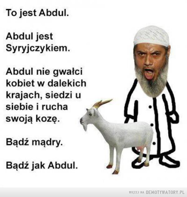 Brawo Abdul! –  To jest Abdul. Abdul jest Syryjczykiem. Abdul nie gwałci kobiet w dalekich krajach, siedzi u siebie i rucha swoją kozę. Bądź mądry. Bądź jak Abdul.