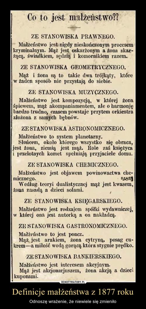 Definicje małżeństwa z 1877 roku