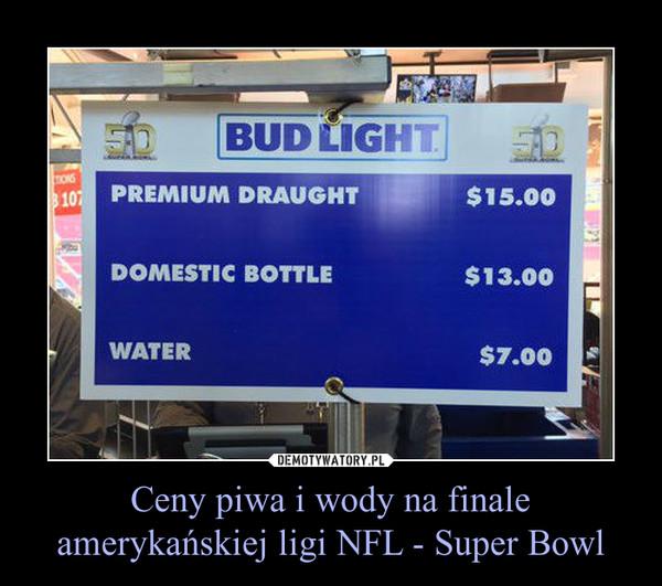 Ceny piwa i wody na finale amerykańskiej ligi NFL - Super Bowl –