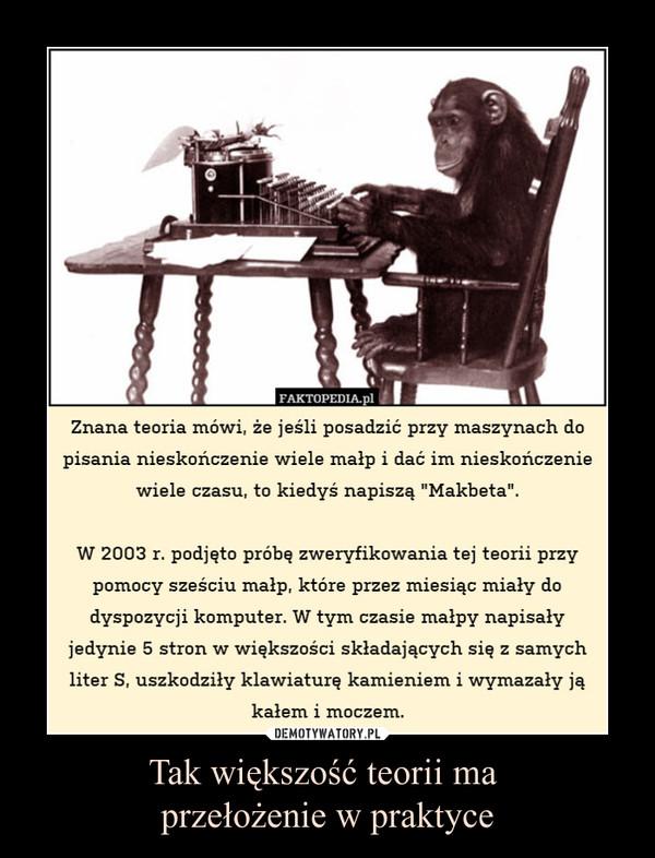 """Tak większość teorii ma przełożenie w praktyce –  Znana teoria mówi, że jeśli posadzić przy maszynach dopisania nieskończenie wiele małp i dać im nieskończeniewiele czasu, to kiedyś napiszą """"Makbeta"""".W 2003 r. podjęto próbę zweryfikowania tej teorii przypomocy sześciu małp, które przez miesiąc miały dodyspozycji komputer. W tym czasie małpy napisałyjedynie 5 stron w większości składających się z samychliter S, uszkodziły klawiaturę kamieniem i wymazały jąkałem i moczem."""