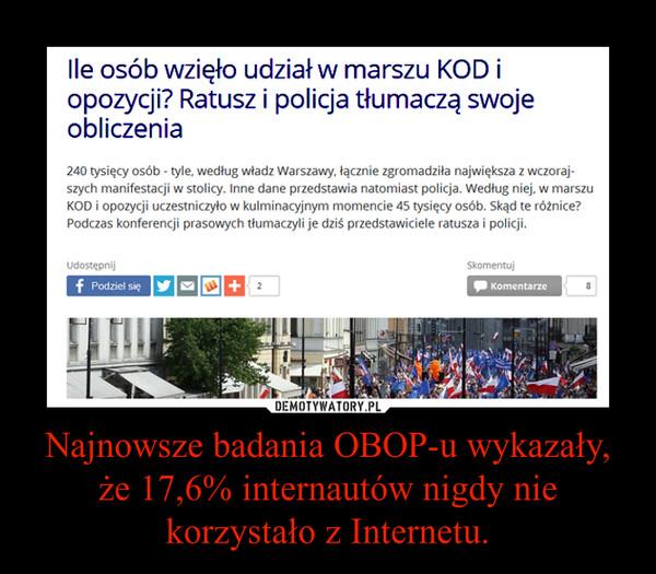 Najnowsze badania OBOP-u wykazały, że 17,6% internautów nigdy nie korzystało z Internetu. –