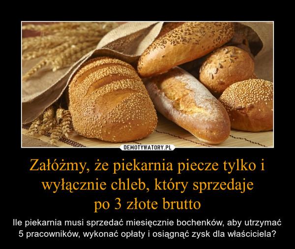 Załóżmy, że piekarnia piecze tylko i wyłącznie chleb, który sprzedajepo 3 złote brutto – Ile piekarnia musi sprzedać miesięcznie bochenków, aby utrzymać 5 pracowników, wykonać opłaty i osiągnąć zysk dla właściciela?