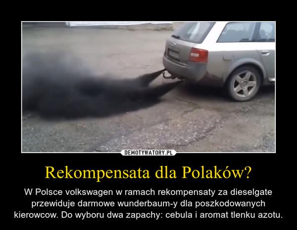 Rekompensata dla Polaków? – W Polsce volkswagen w ramach rekompensaty za dieselgate przewiduje darmowe wunderbaum-y dla poszkodowanych kierowcow. Do wyboru dwa zapachy: cebula i aromat tlenku azotu.