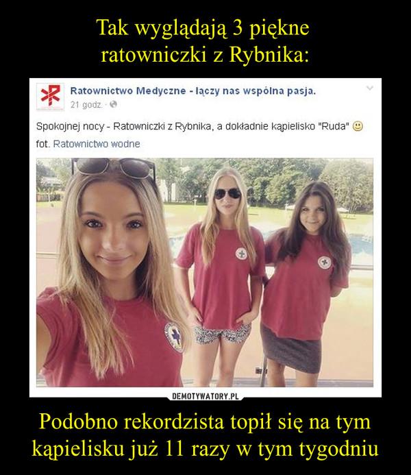 """Podobno rekordzista topił się na tym kąpielisku już 11 razy w tym tygodniu –  Spokojnej nocy - Ratowniczki z Rybnika, a dokładnie kąpielisko """"Ruda"""" c"""