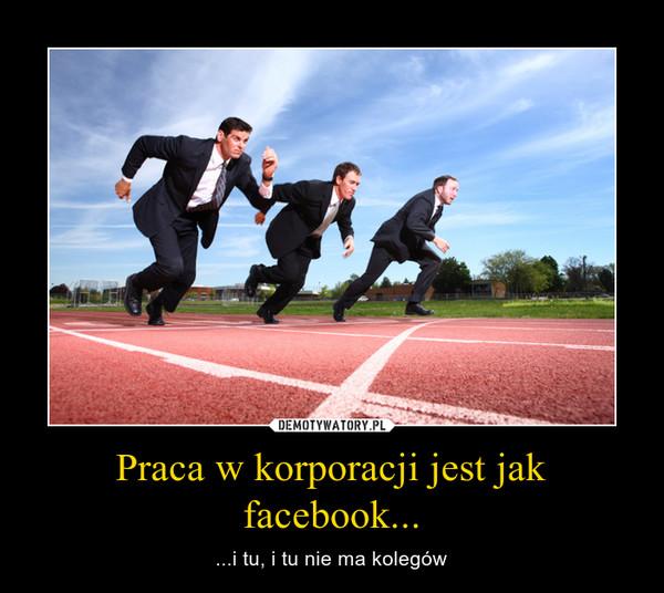 Praca w korporacji jest jak facebook... – ...i tu, i tu nie ma kolegów