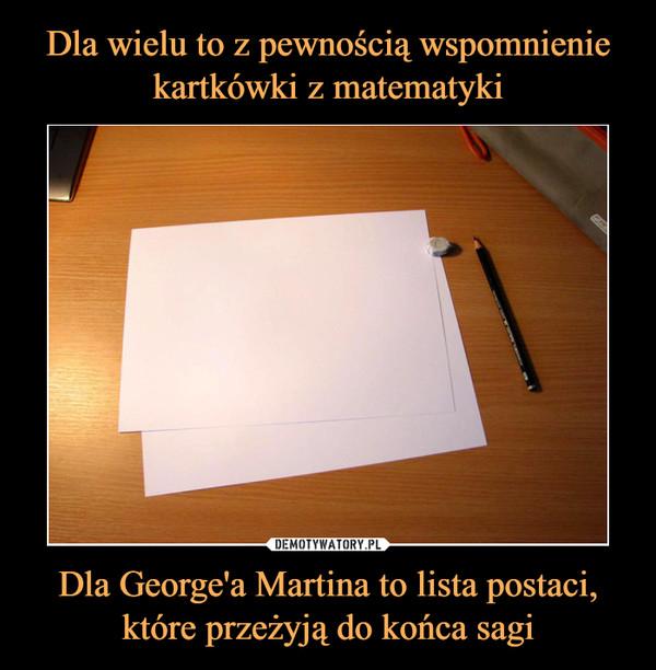 Dla George'a Martina to lista postaci, które przeżyją do końca sagi –
