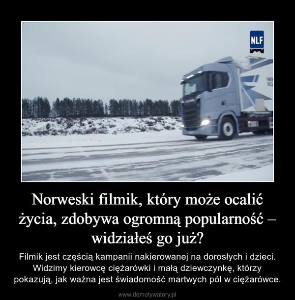Norweski filmik, który może ocalić życia, zdobywa ogromną popularność – widziałeś go już? – Filmik jest częścią kampanii nakierowanej na dorosłych i dzieci. Widzimy kierowcę ciężarówki i małą dziewczynkę, którzy pokazują, jak ważna jest świadomość martwych pól w ciężarówce.