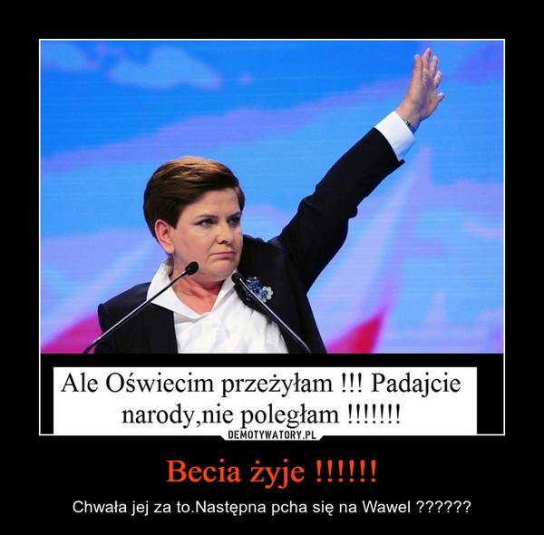Becia żyje !!!!!! – Chwała jej za to.Następna pcha się na Wawel ??????