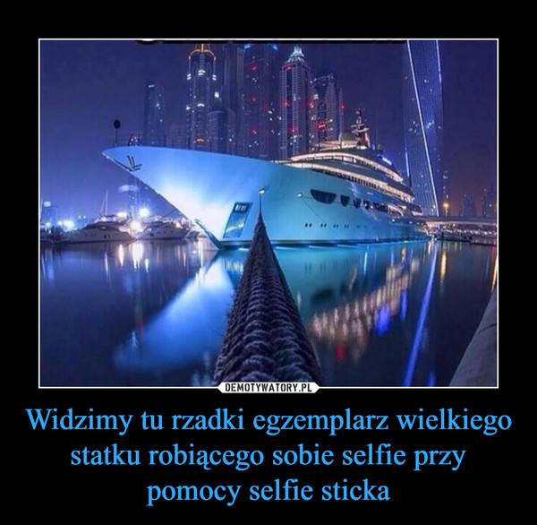 Widzimy tu rzadki egzemplarz wielkiego statku robiącego sobie selfie przy pomocy selfie sticka –