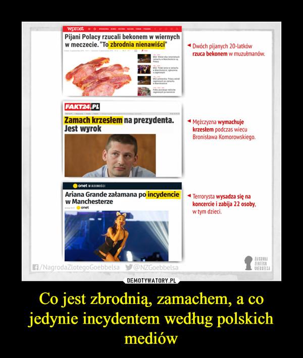 Co jest zbrodnią, zamachem, a co jedynie incydentem według polskich mediów –