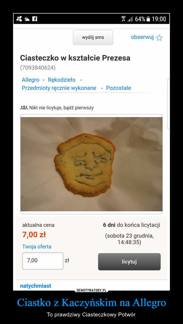 Ciastko z Kaczyńskim na Allegro – To prawdziwy Ciasteczkowy Potwór