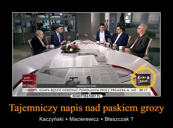 Tajemniczy napis nad paskiem grozy – Kaczyński + Macierewicz + Błaszczak ?