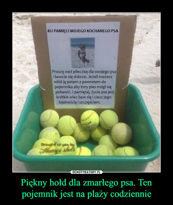 Piękny hołd dla zmarłego psa. Ten pojemnik jest na plaży codziennie –  KU PAMIĘCI MOJEGO KOCHANEGO PSA Proszę weź piłeczkę dla swojego psa i bawcie się dobrze. Jeżeli możesz włóż ją potem z powrotem do pojemnika aby inny pies mógł się pobawić. 1 pamiętaj, życie psa jest krótkie wiec baw się i ciesz jego lojalnością i szczęściem.