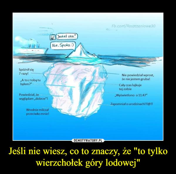 """Jeśli nie wiesz, co to znaczy, że """"to tylko wierzchołek góry lodowej"""" –"""