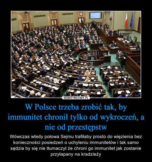 W Polsce trzeba zrobić tak, by immunitet chronił tylko od wykroczeń, a nie od przestępstw