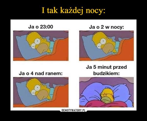 –  Ja o 23:00Ja o 2 w nocy:Ja 5 minut przedbudzikiem:Ja o 4 nad ranem: