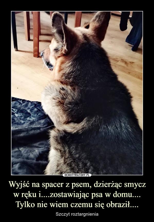 Wyjść na spacer z psem, dzierżąc smycz w ręku i....zostawiając psa w domu....Tylko nie wiem czemu się obraził.... – Szczyt roztargnienia
