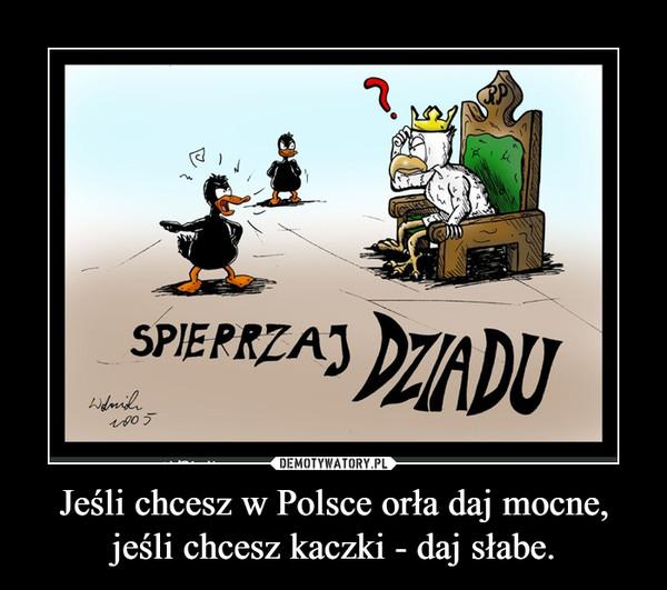 Jeśli chcesz w Polsce orła daj mocne, jeśli chcesz kaczki - daj słabe. –