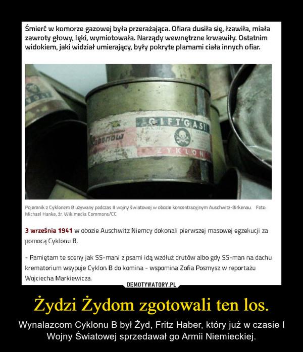 Żydzi Żydom zgotowali ten los. – Wynalazcom Cyklonu B był Żyd, Fritz Haber, który już w czasie I Wojny Światowej sprzedawał go Armii Niemieckiej.