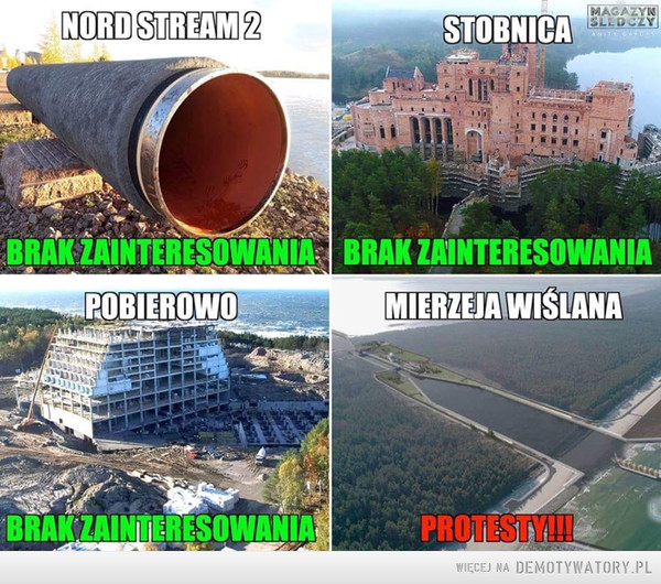 Ekolodzy... –  NORD STREAM 2STOBNICAMAGAZYNSLEDCZYBRAK ZAINTERESOWANIAPOBIEROWOBRAK ZAINTERESOWANIAMIERZEJAWISLANABRAK ZAINTERESOWANIAPROTESTYAI