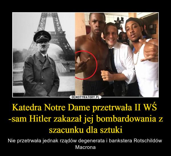 Katedra Notre Dame przetrwała II WŚ  -sam Hitler zakazał jej bombardowania z szacunku dla sztuki – Nie przetrwała jednak rządów degenerata i bankstera Rotschildów  Macrona