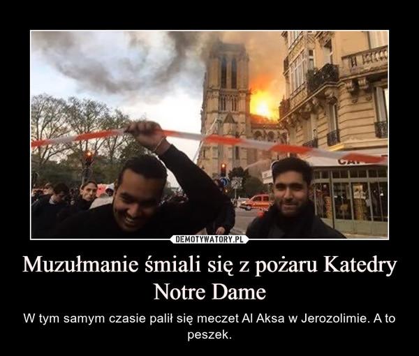 Muzułmanie śmiali się z pożaru Katedry Notre Dame – W tym samym czasie palił się meczet Al Aksa w Jerozolimie. A to peszek.